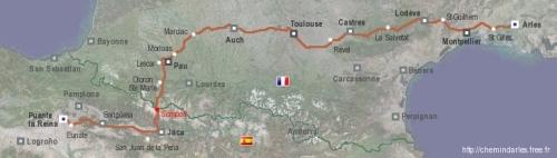 Mapa Camino de Arles